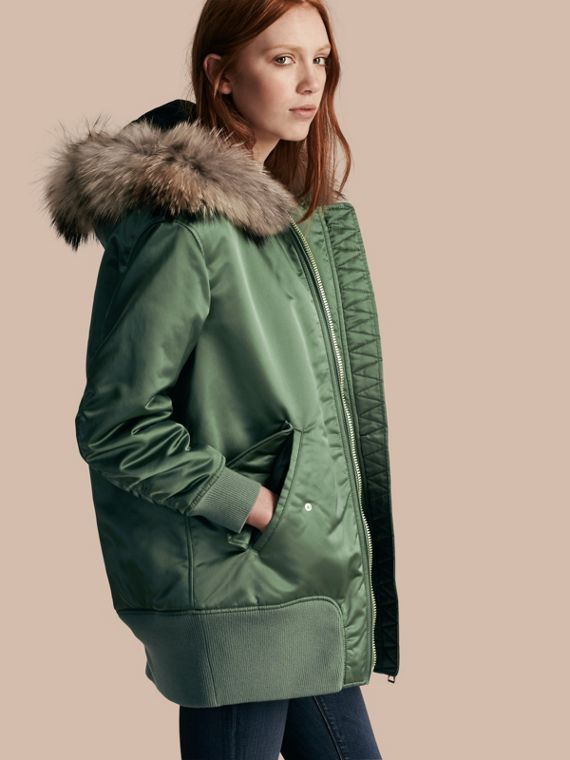 Long-line Satin Bomber Jacket with Fur-trimmed Hood Eucalyptus Green