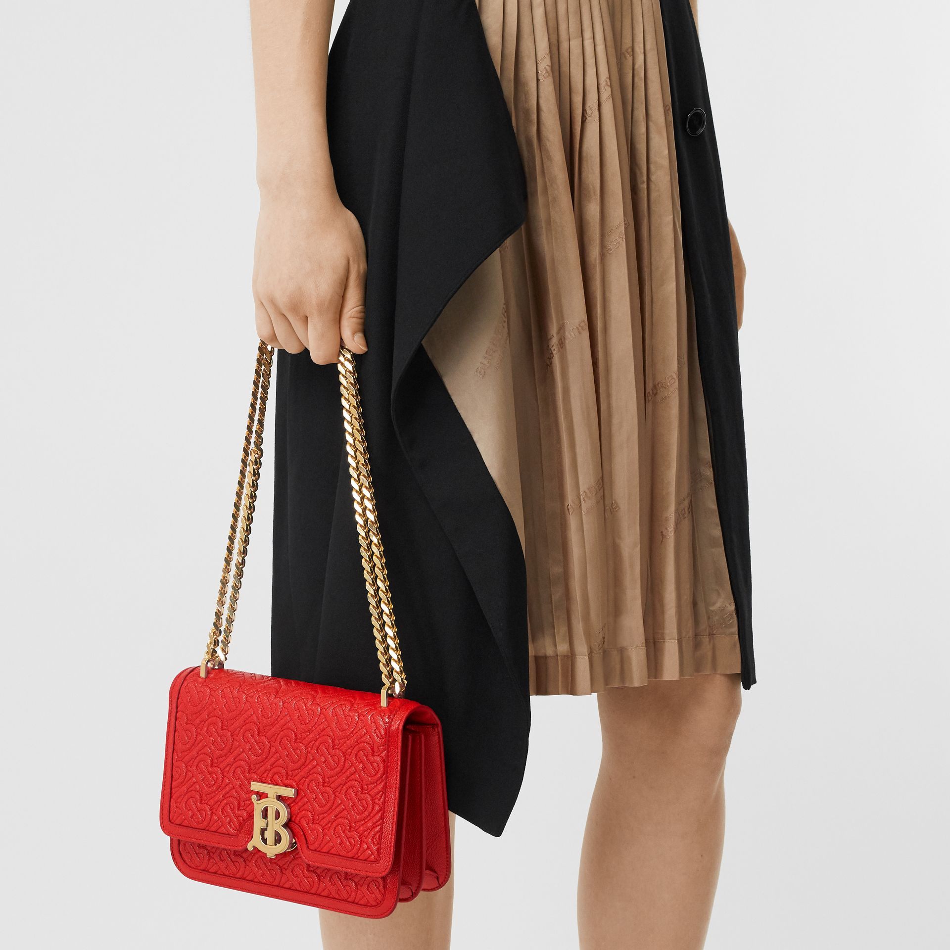 Small Quilted Monogram Leather TB Bag in Bright Red - Women   Burberry - gallery image 2