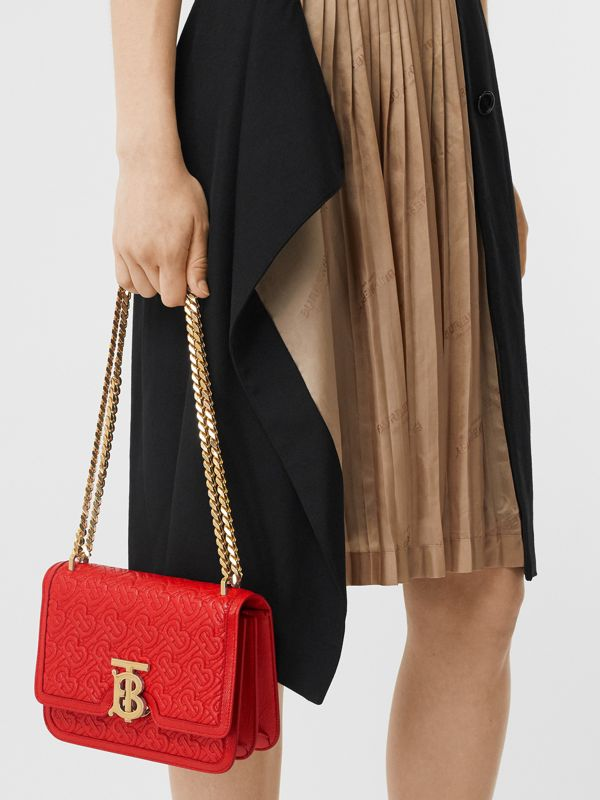 Small Quilted Monogram Leather TB Bag in Bright Red - Women | Burberry United States - cell image 2