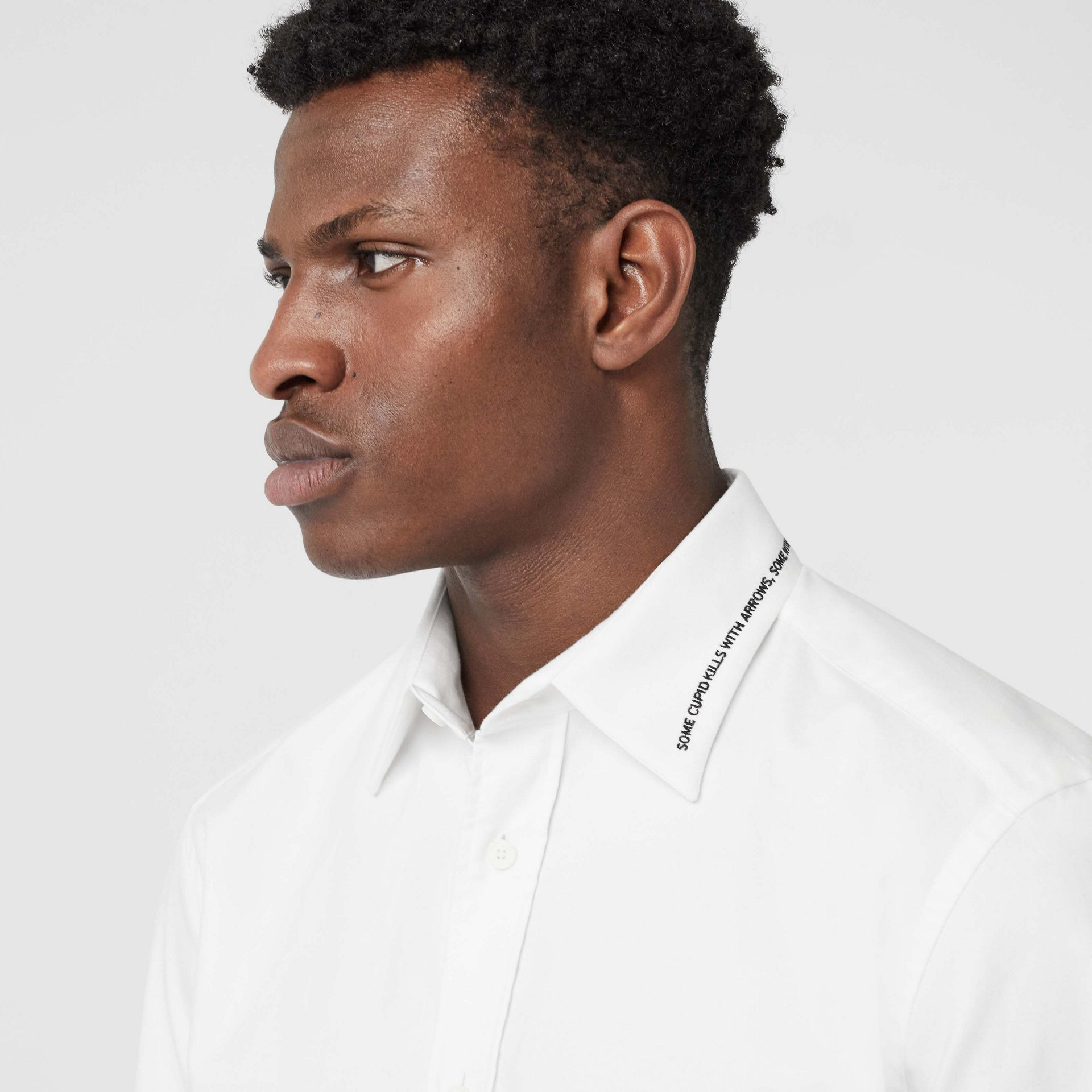 Classic Fit Embroidered Cotton Poplin Dress Shirt in White - Men | Burberry United States - gallery image 4