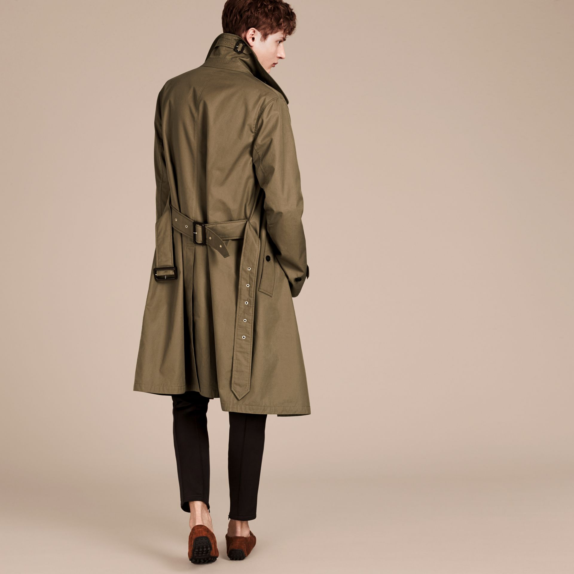 Military olive Cotton Gabardine Trench Coat - gallery image 2