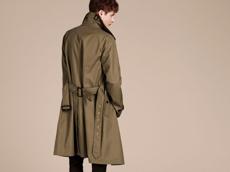 Military olive Cotton Gabardine Trench Coat - cell image 1