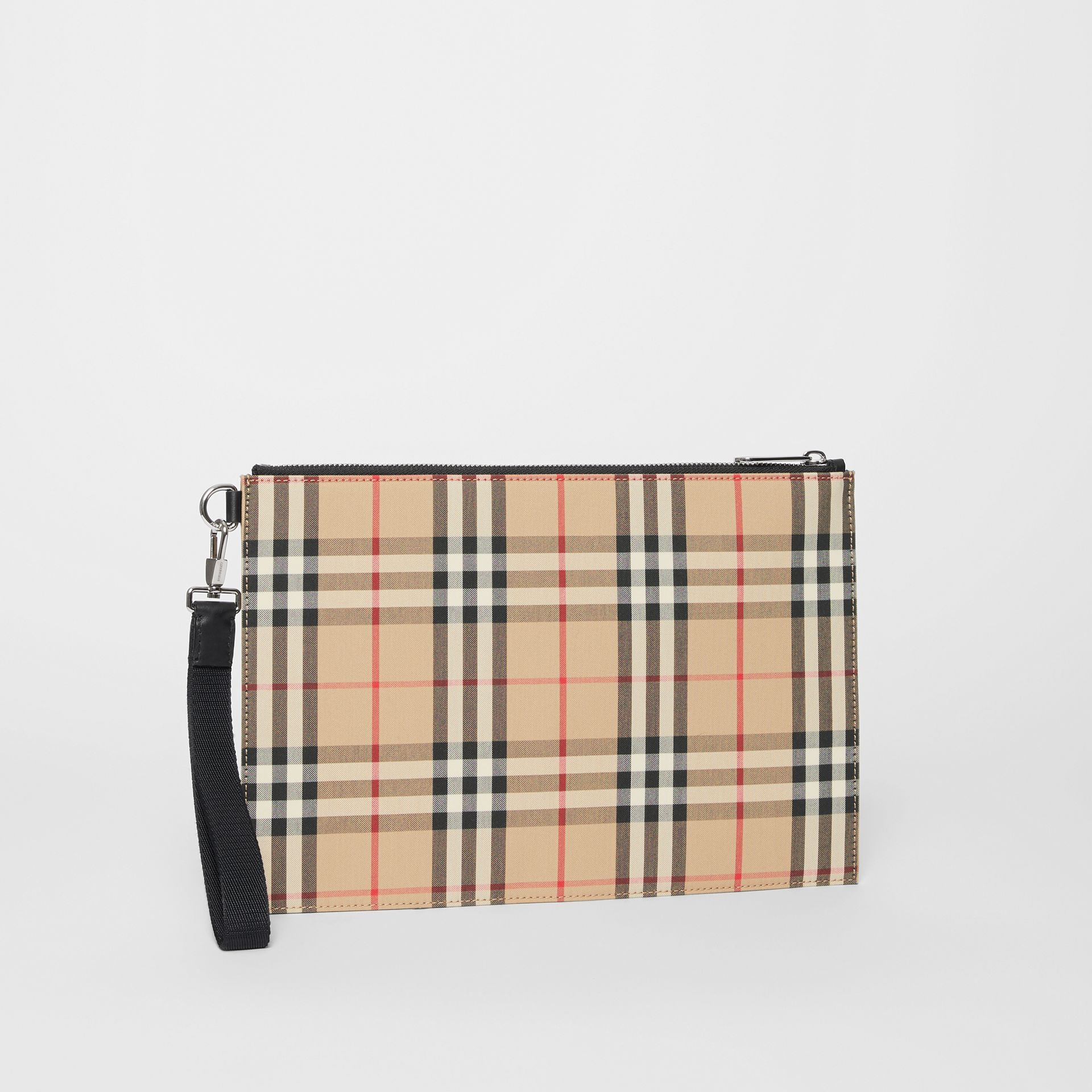 Vintage Check Cotton Zip Pouch in Archive Beige | Burberry - gallery image 6