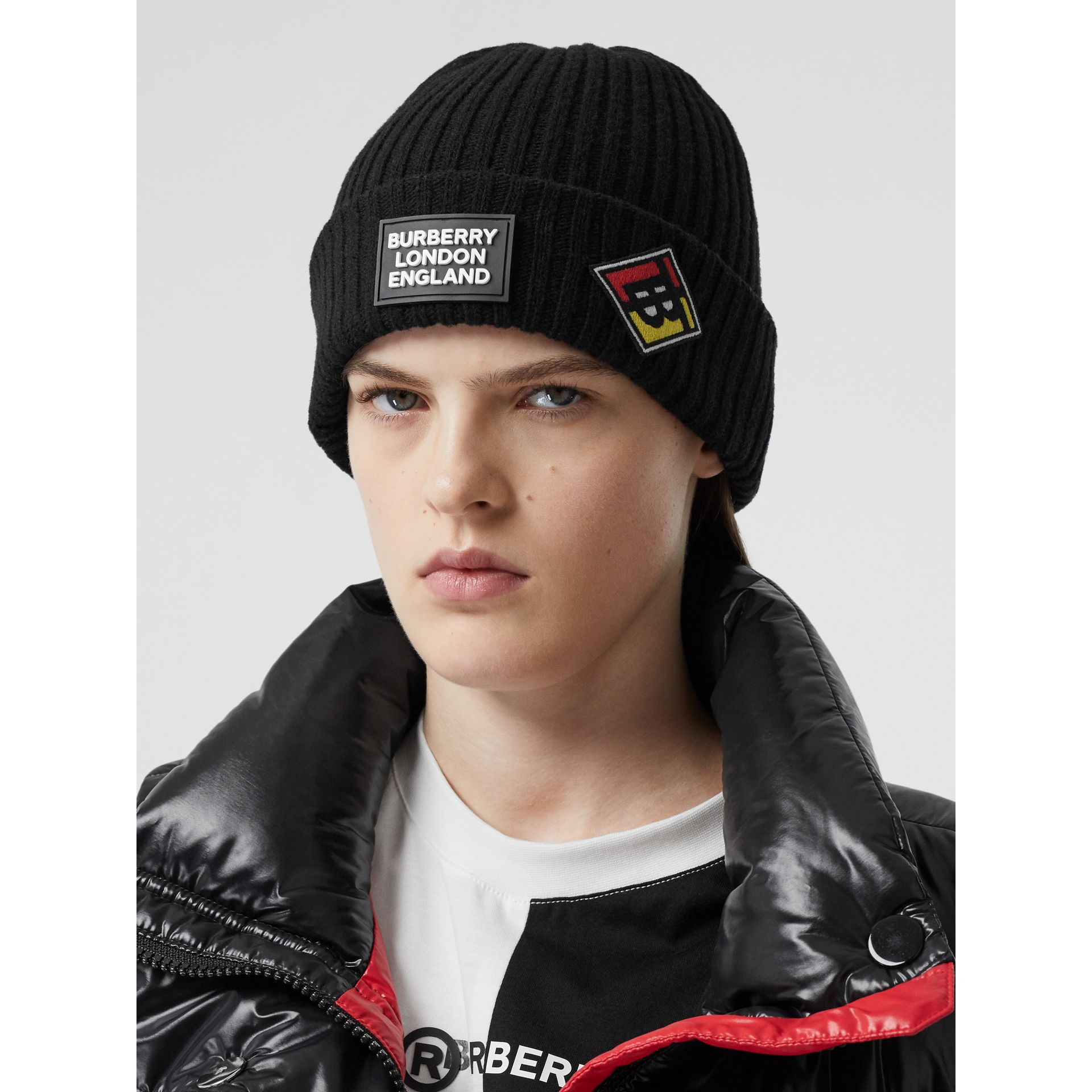 Logo Graphic Rib Knit Wool Beanie in Black | Burberry - gallery image 2