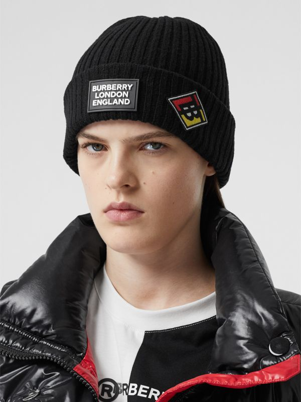 Logo Graphic Rib Knit Wool Beanie in Black | Burberry - cell image 2
