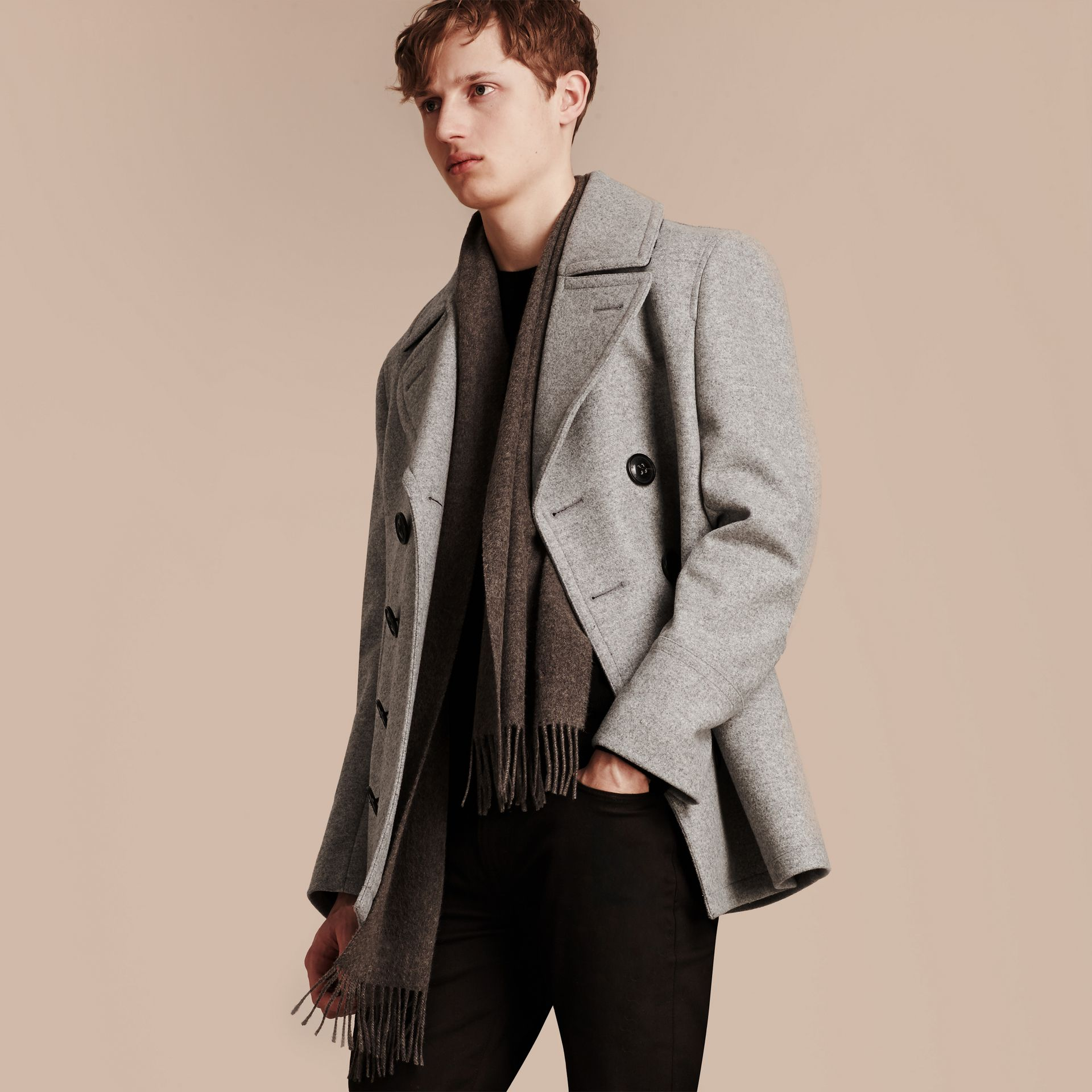 Wool Cashmere Pea Coat in Pale Grey Melange - gallery image 7