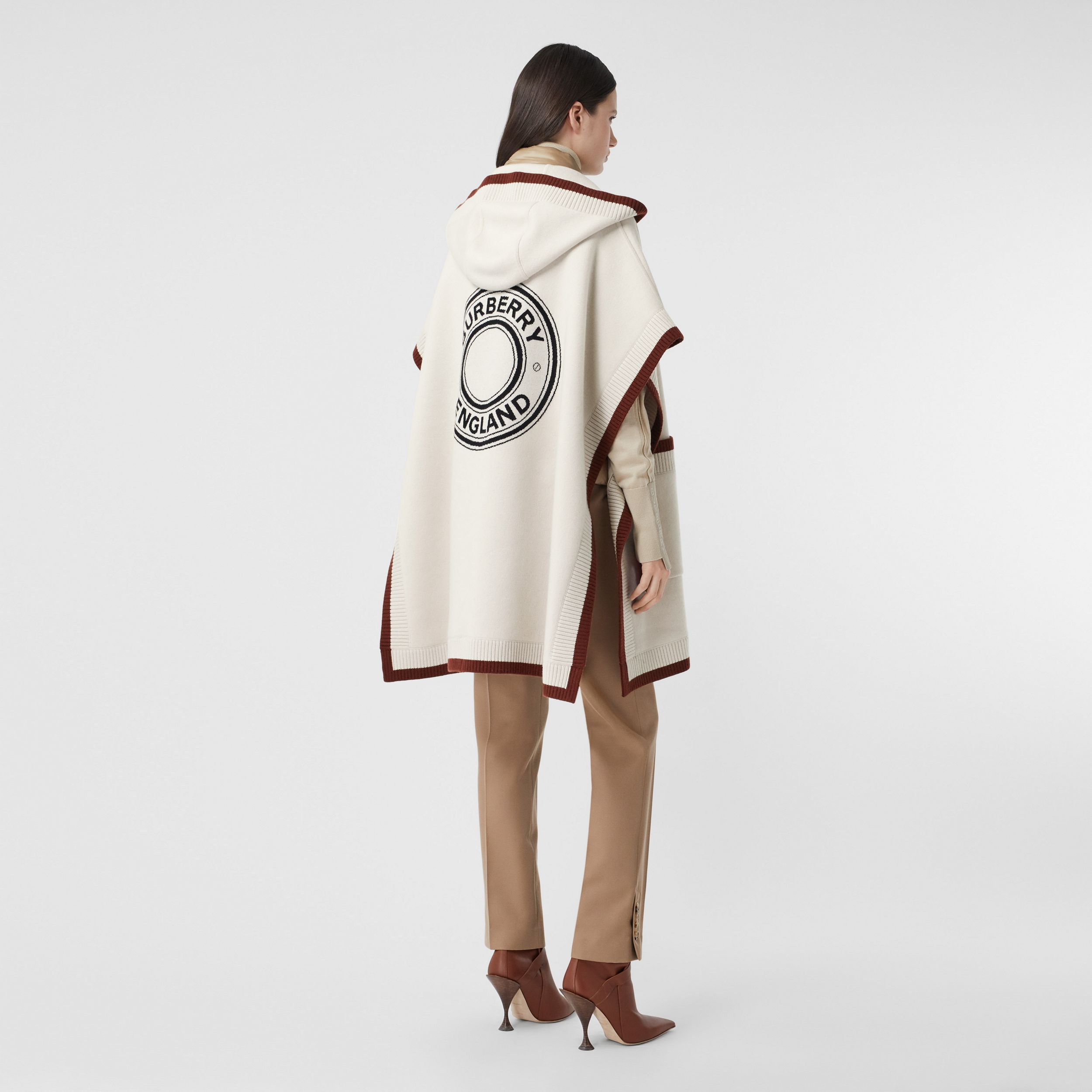 Logo Graphic Wool Cashmere Jacquard Hooded Cape in Canvas - Women | Burberry United Kingdom - 1