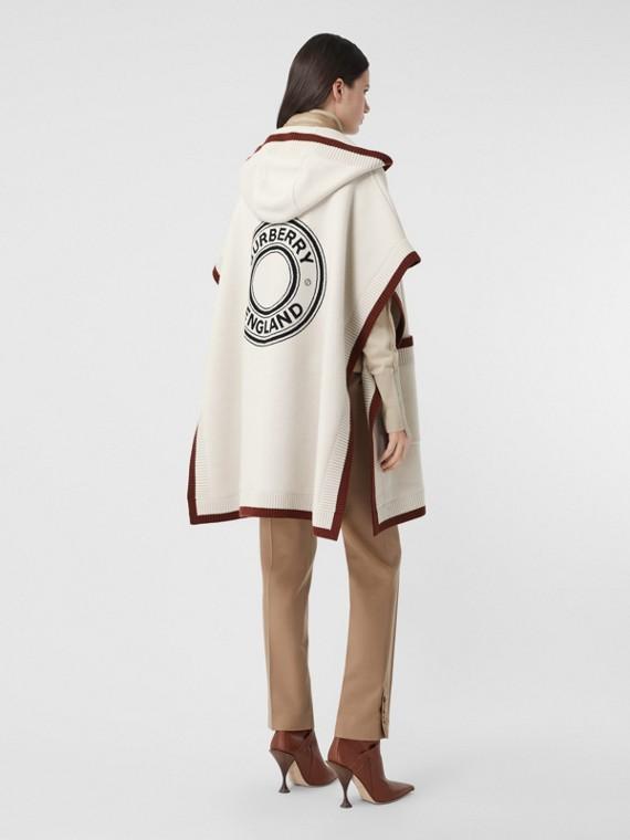 Capa com capuz de lã e cashmere com logotipo gráfico em jacquard (Lona)