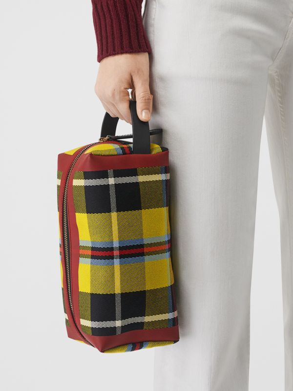 Tartan Cotton Pouch in Ochre Yellow | Burberry - cell image 2