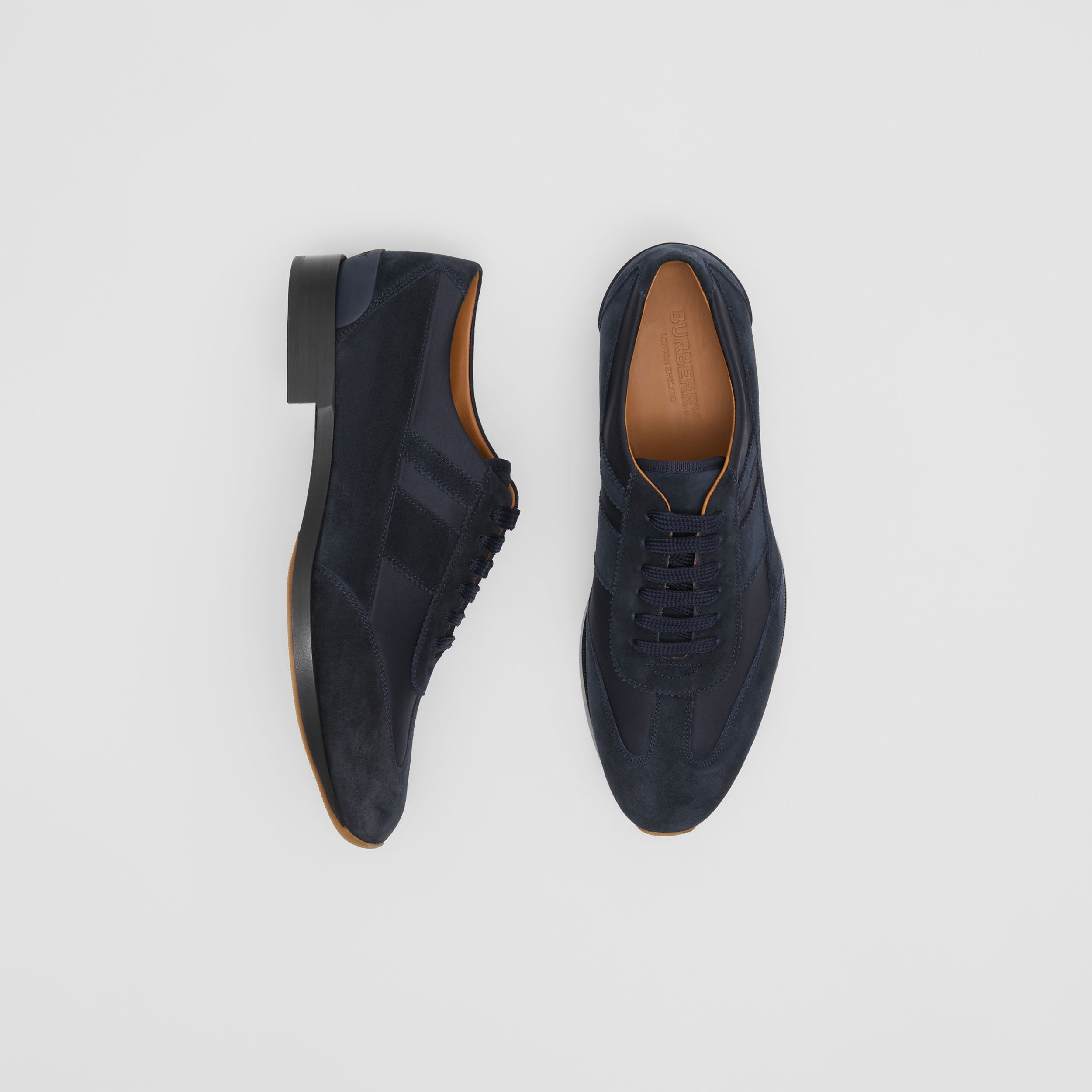 Neoprene Panel Suede Lace-up Shoes in Navy | Burberry - 1