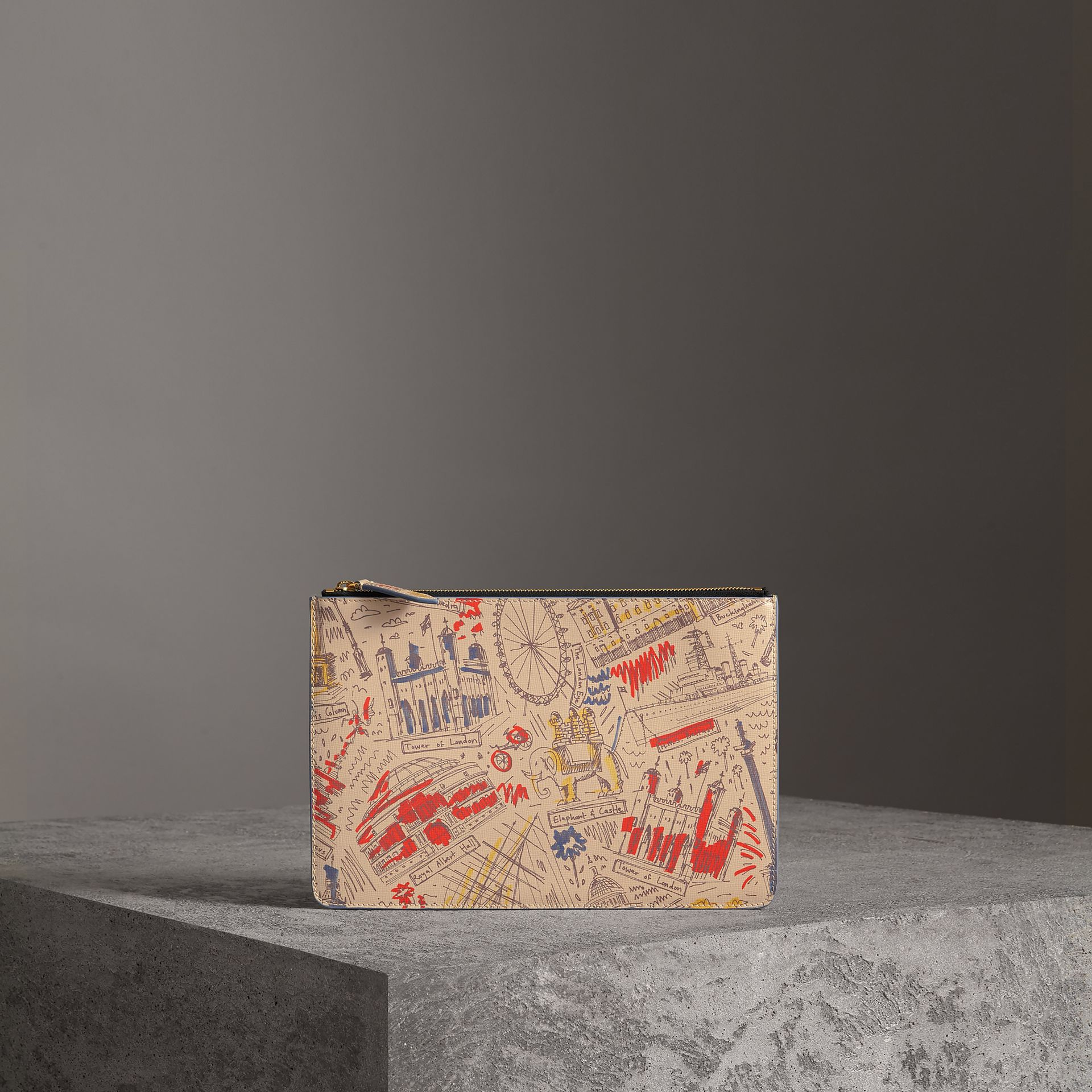 London Print Leather Zip Pouch in Multicolour | Burberry - gallery image 0