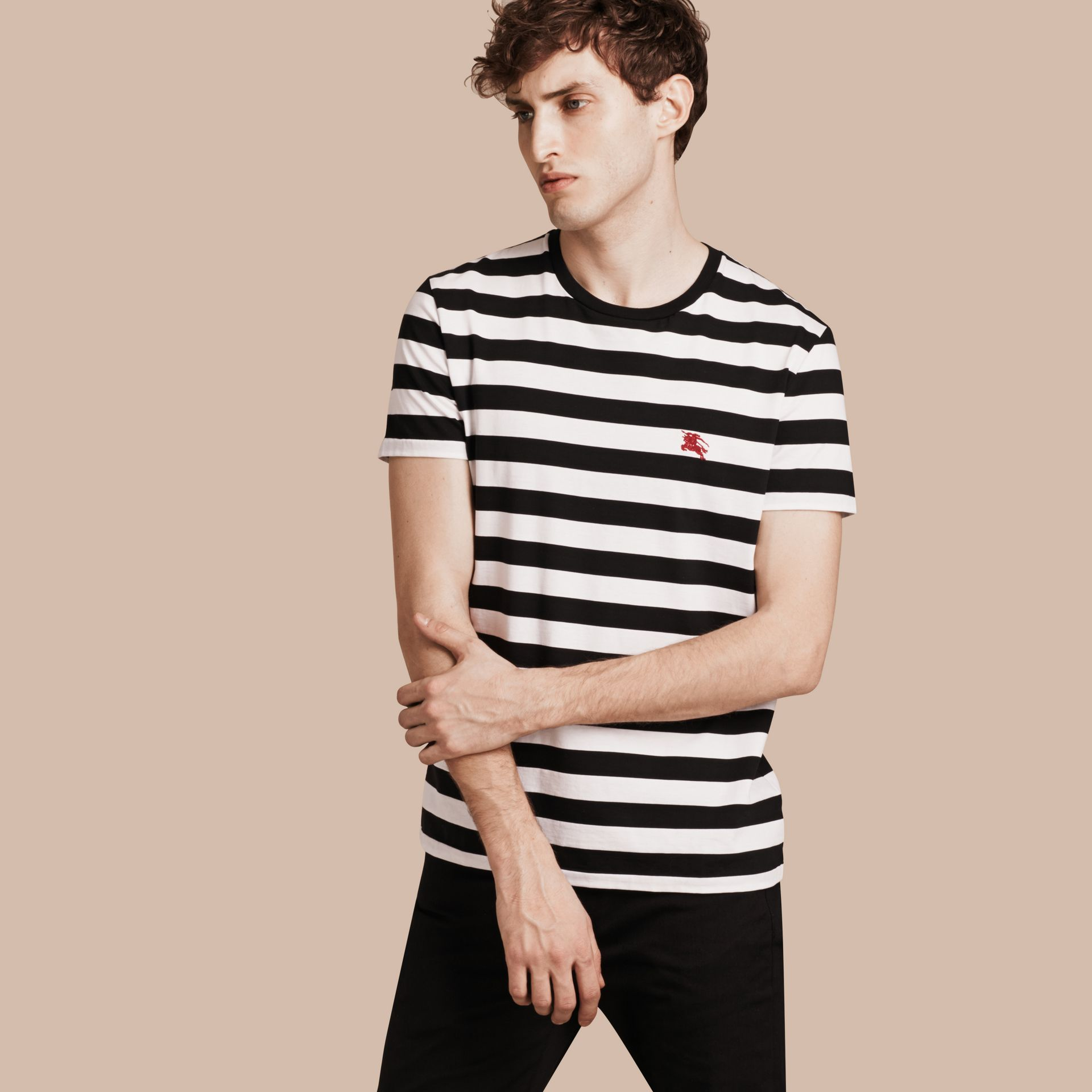 Striped Cotton T-Shirt in Black/white - gallery image 1