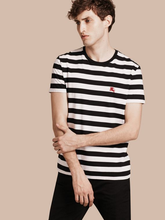 Striped Cotton T-Shirt in Black/white