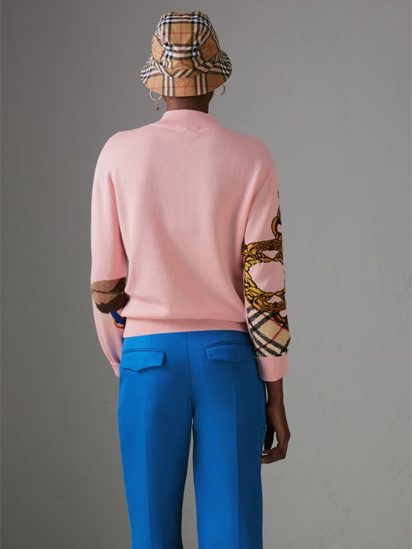 Duck Intarsia Cotton Cashmere Wool Sweater in Pale Pink - Women | Burberry Singapore - cell image 2