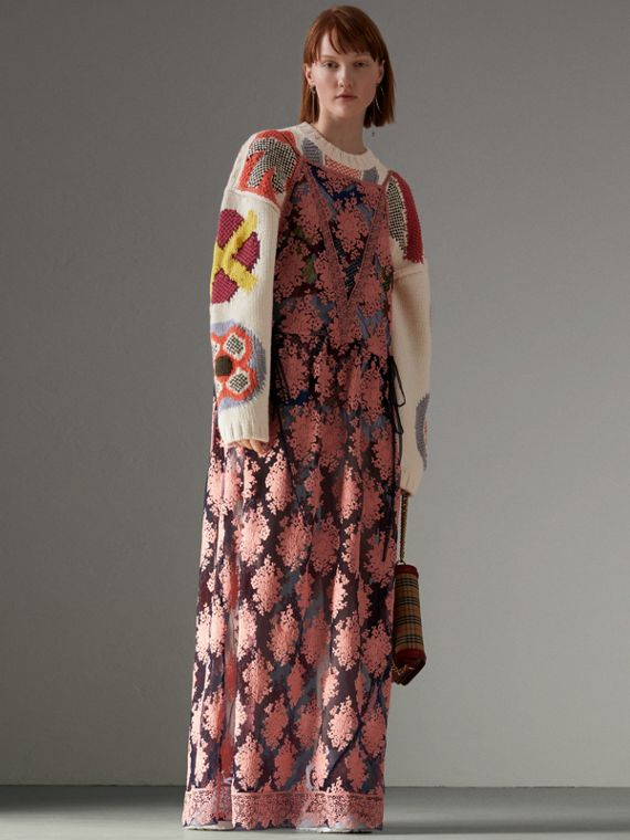 Floral-embroidered Sleeveless Dress in Rose/midnight Blue - Women | Burberry - cell image 2