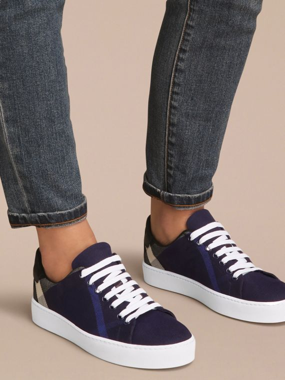 Overdyed House Check and Leather Trainers in Indigo Blue - Women | Burberry Australia - cell image 2