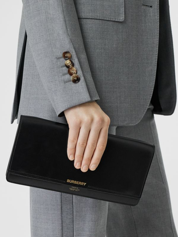 Horseferry Print Leather Bag with Detachable Strap in Black - Women | Burberry Hong Kong - cell image 2