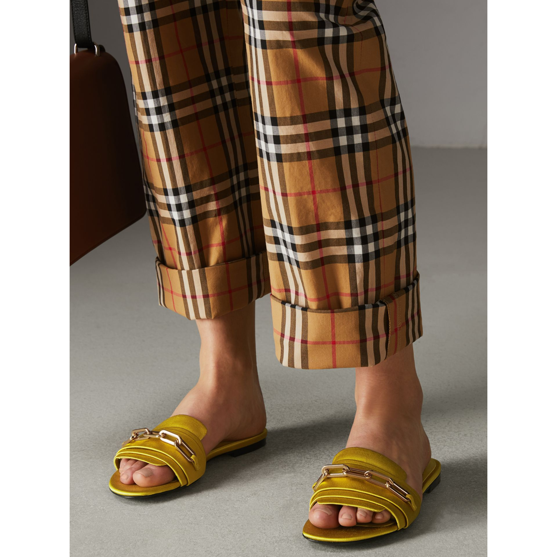 Link Detail Satin and Leather Slides in Antique Yellow - Women | Burberry Australia - gallery image 2