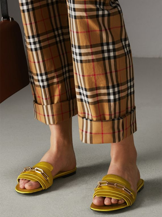 Link Detail Satin and Leather Slides in Antique Yellow - Women | Burberry Singapore - cell image 2