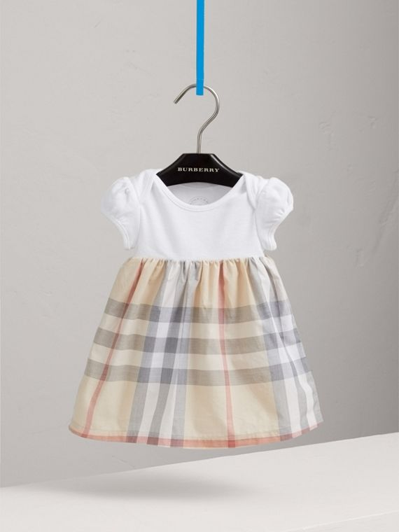 Check Detail Cotton Dress in Pale Classic - Girl | Burberry - cell image 2
