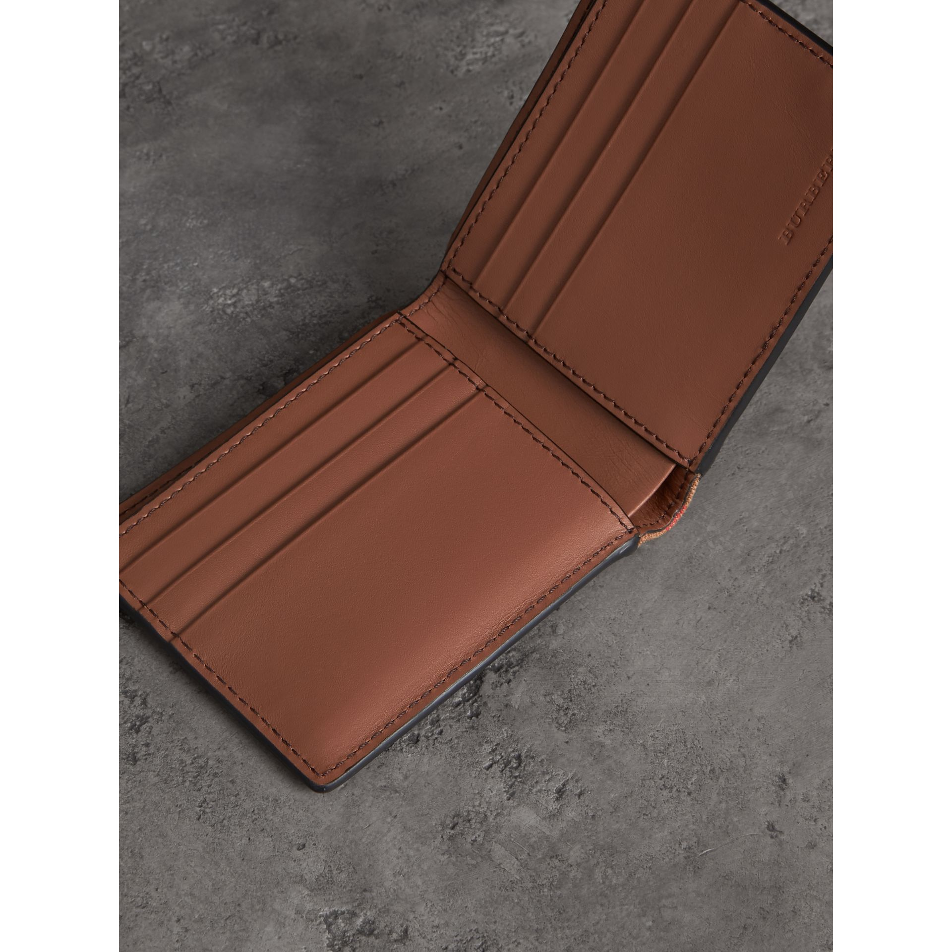Grainy Leather and House Check Bifold Wallet in Chestnut Brown - Men | Burberry United States - gallery image 3