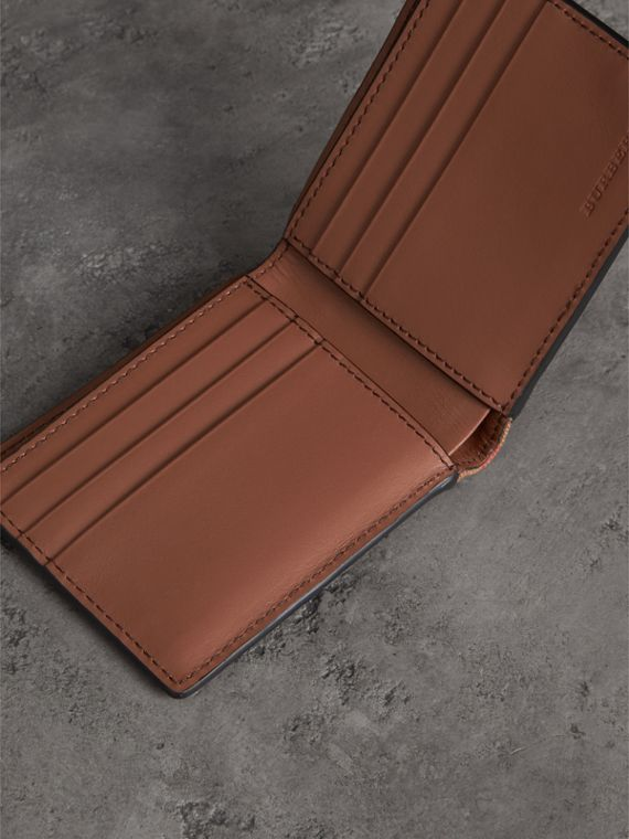 Grainy Leather and House Check Bifold Wallet in Chestnut Brown - Men | Burberry United States - cell image 3
