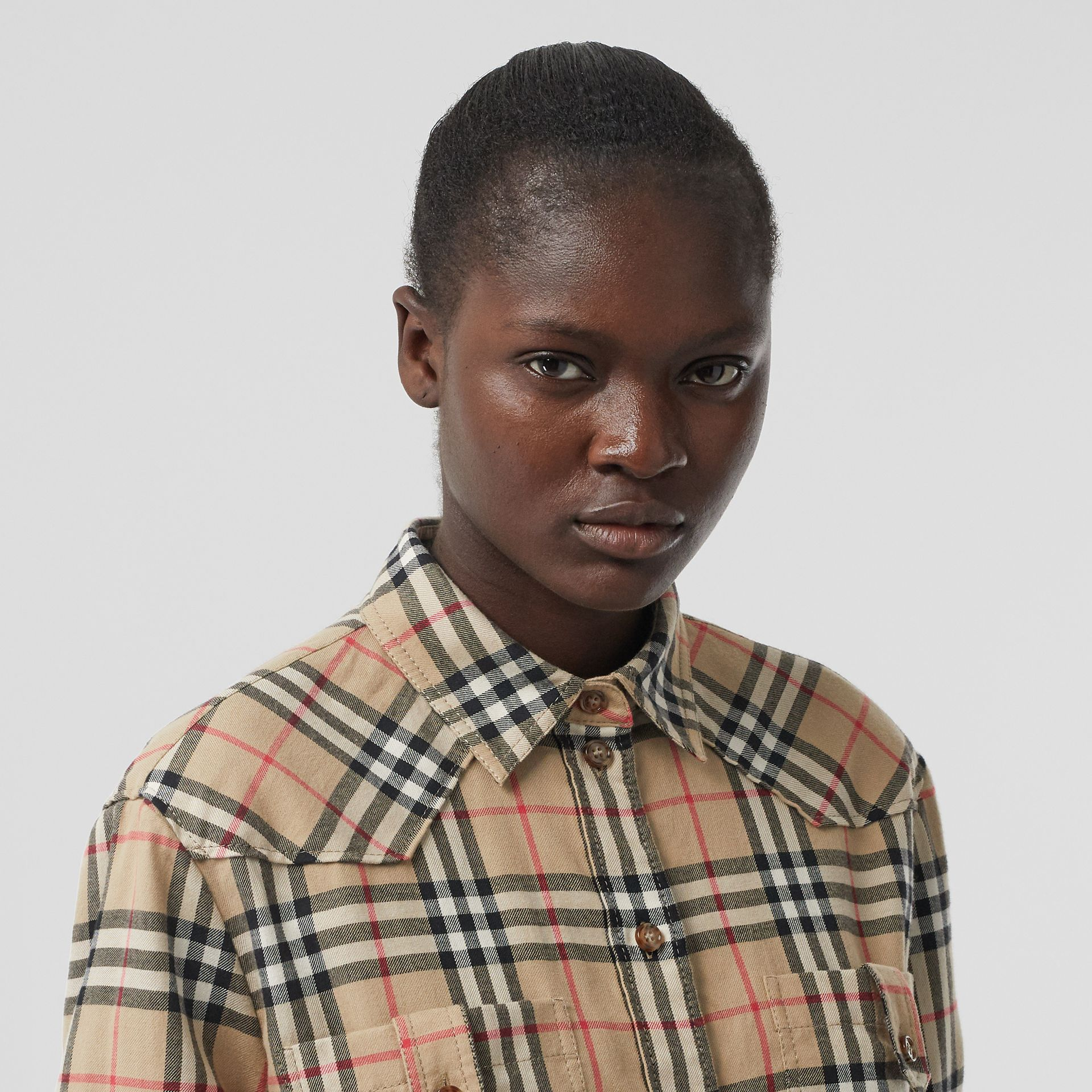 Vintage Check Cotton Flannel Oversized Shirt in Archive Beige - Women | Burberry - gallery image 1