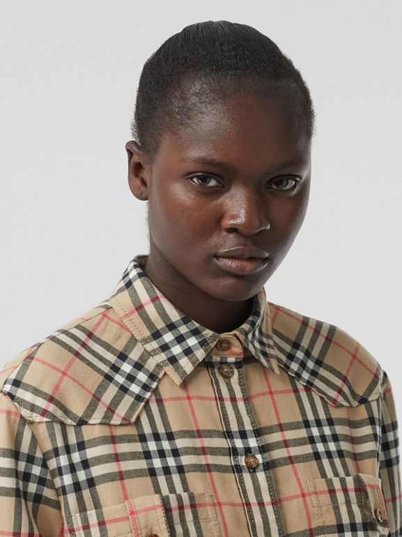 Vintage Check Cotton Flannel Oversized Shirt in Archive Beige - Women | Burberry - cell image 1