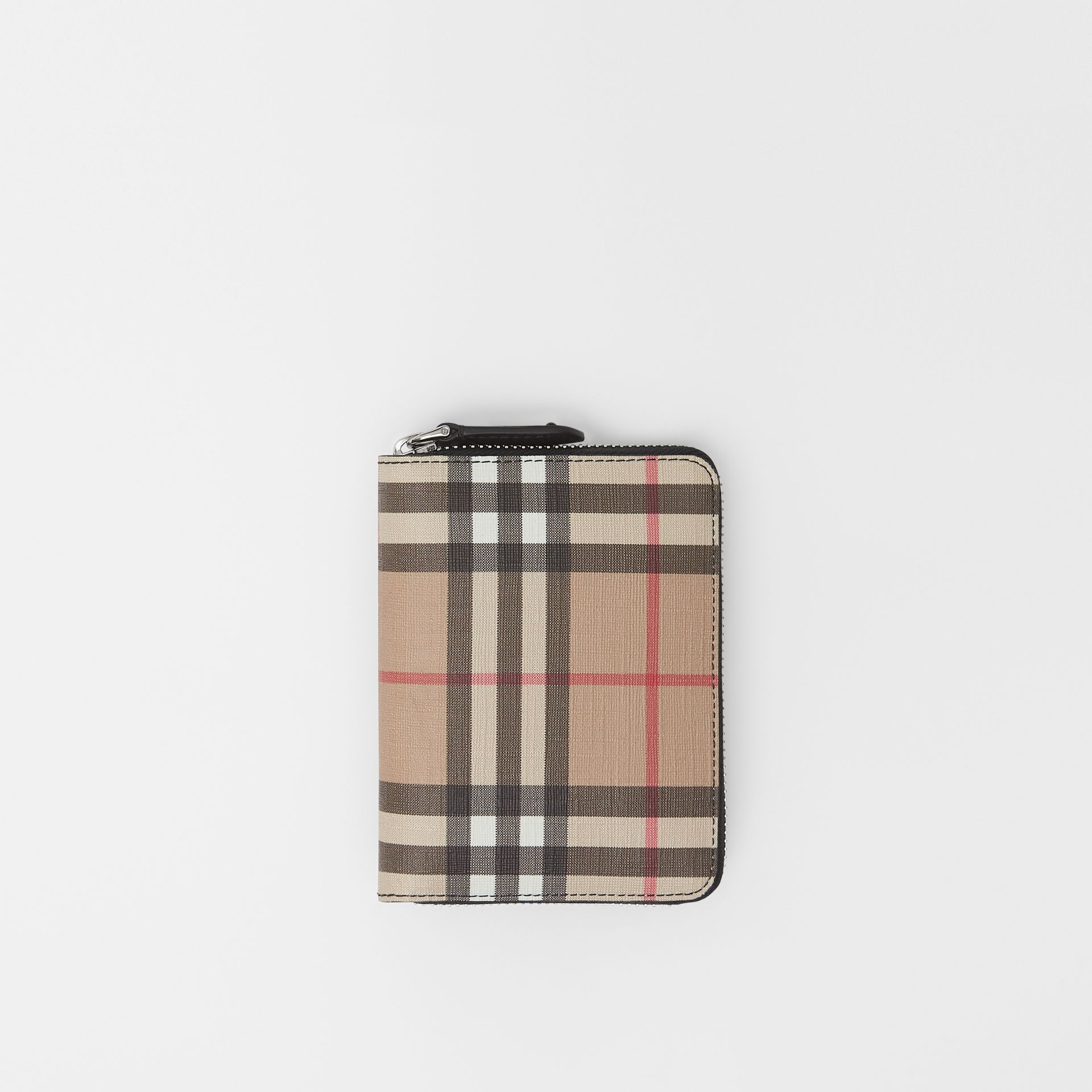 Vintage Check E-canvas Ziparound Wallet in Black - Women | Burberry - gallery image 0
