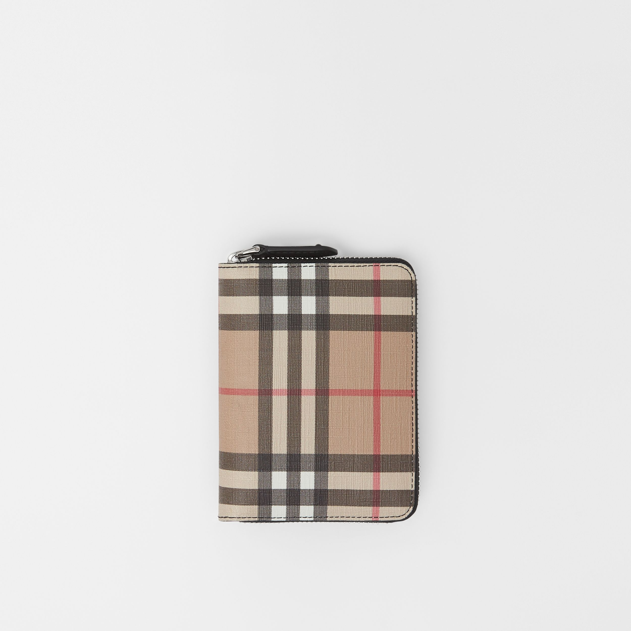 Vintage Check E-canvas Ziparound Wallet in Black - Women | Burberry - 1