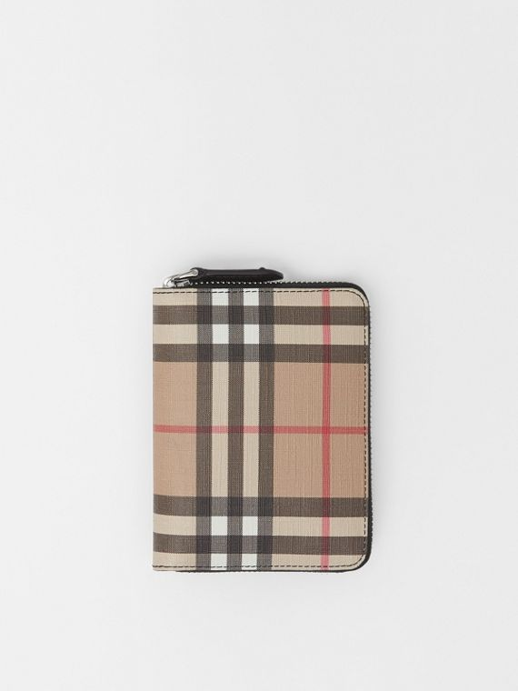 Vintage Check E-canvas Ziparound Wallet in Black