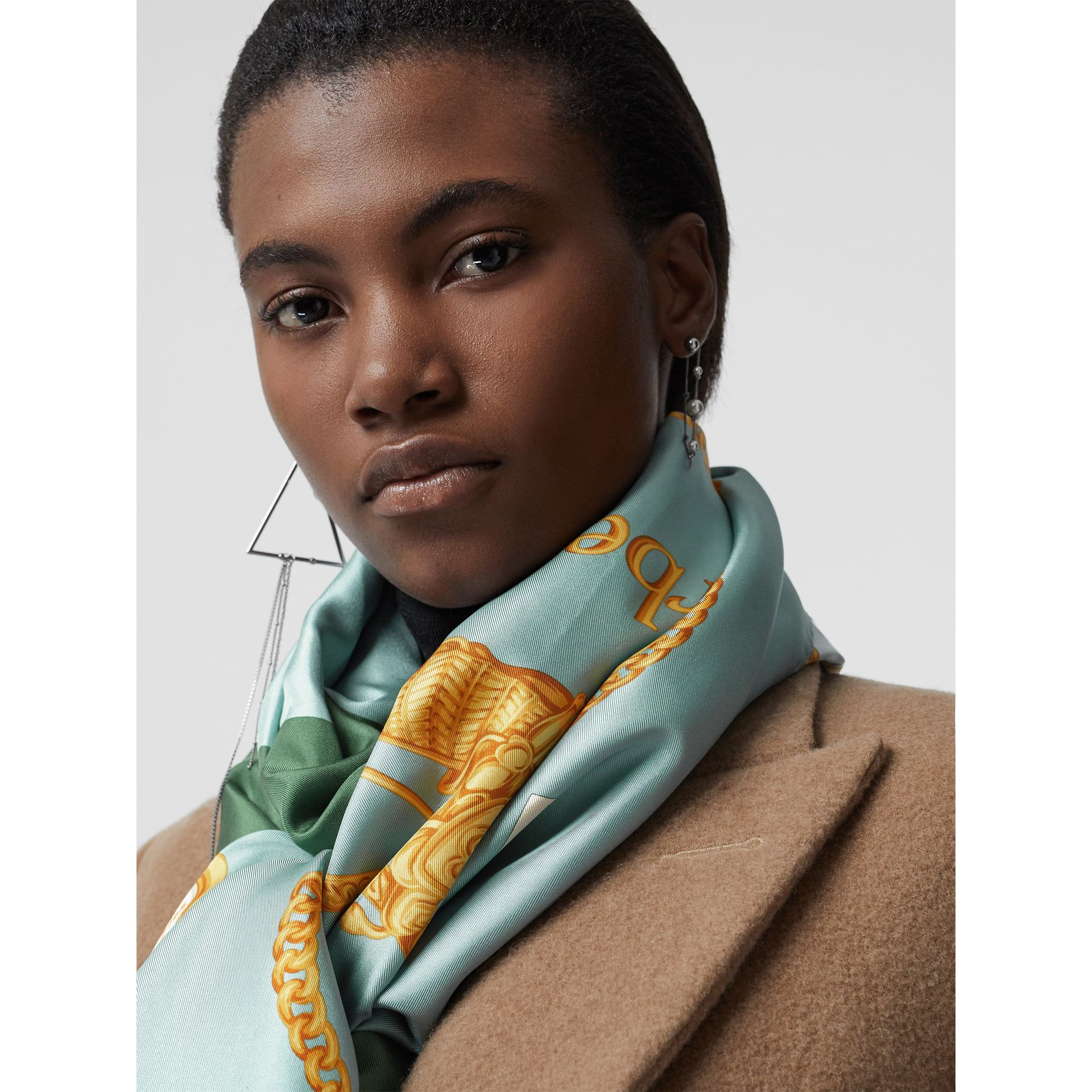 Archive Scarf Print Silk Scarf in Multicolour - Women | Burberry Australia - gallery image 4