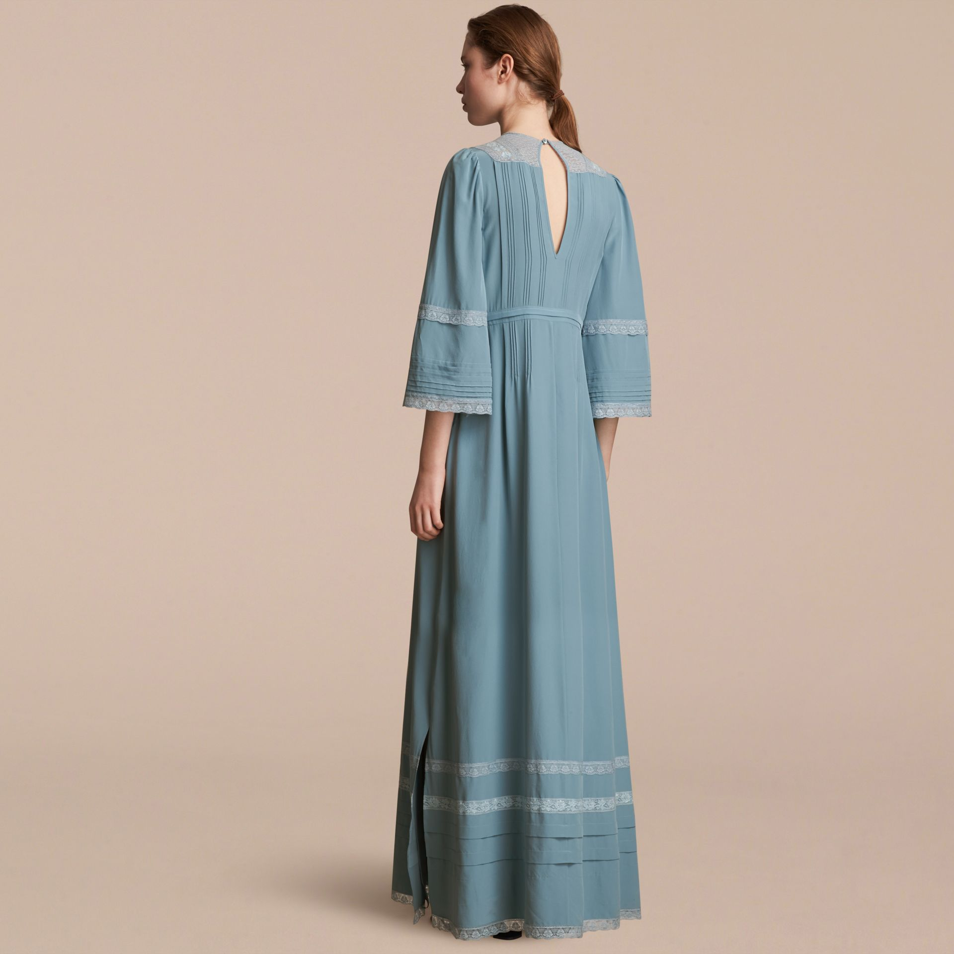 Lace and Pintuck Detail Silk Dress in Bright Mineral Blue - Women | Burberry - gallery image 2