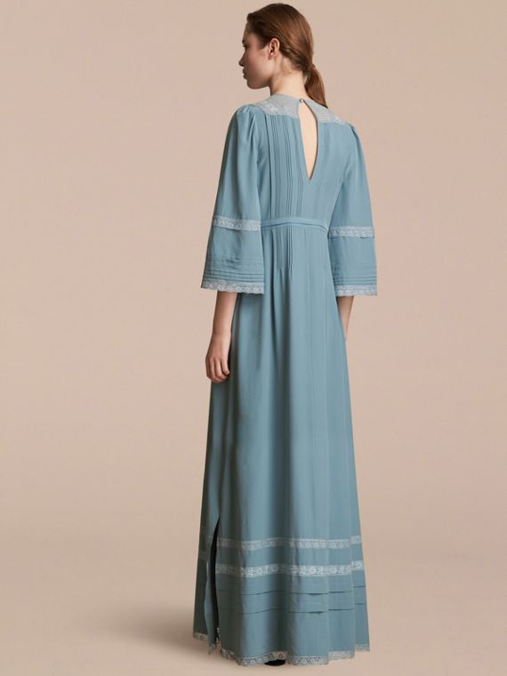 Lace and Pintuck Detail Silk Dress in Bright Mineral Blue - Women | Burberry - cell image 2