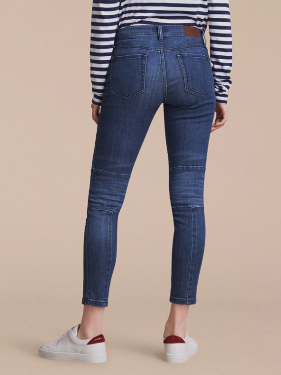 Skinny Fit Seam Detail Stretch Japanese Denim Jeans in Indigo - Women | Burberry - cell image 2