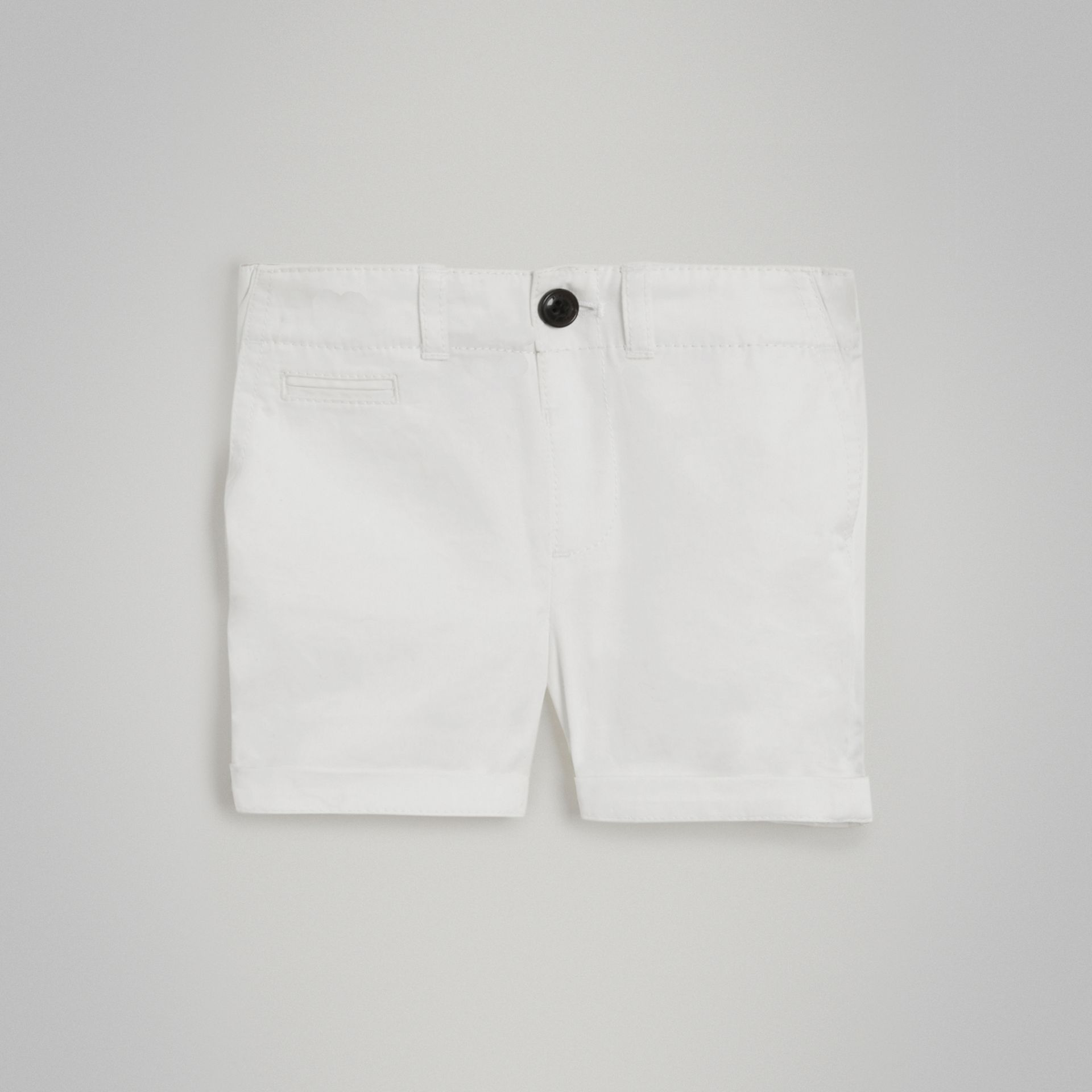Cotton Twill Chino Shorts in White - Children | Burberry - gallery image 0