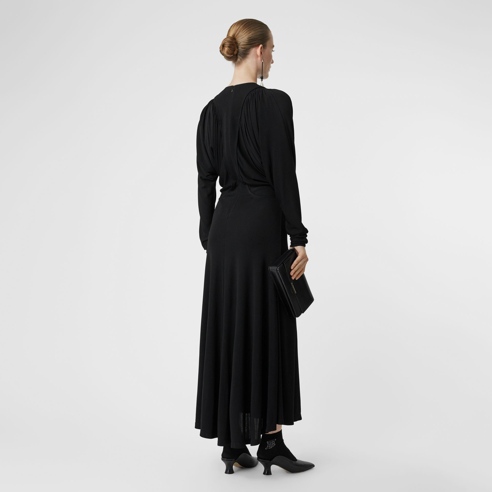 Ruched Panel Jersey Gown in Black - Women | Burberry United States - gallery image 2
