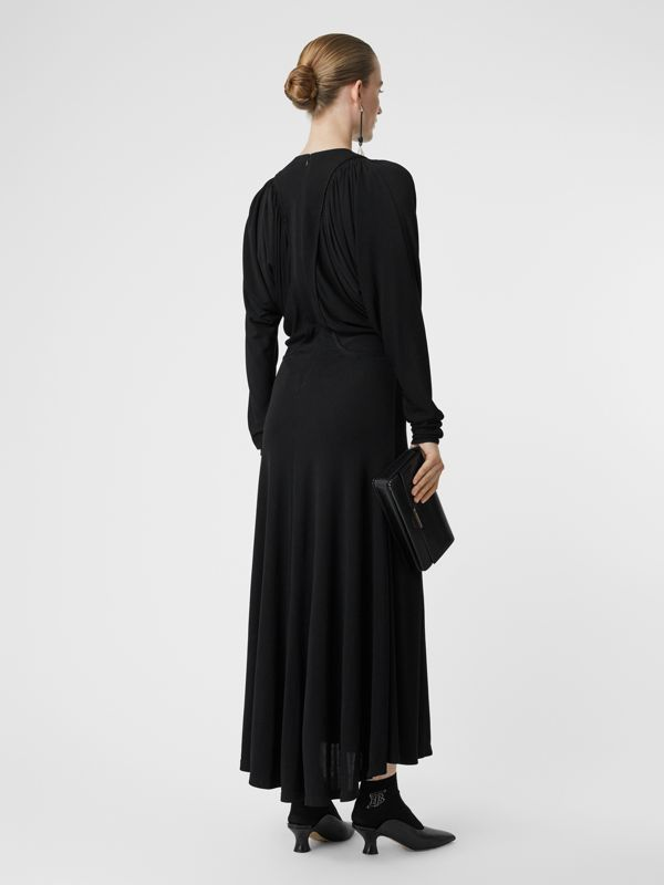 Ruched Panel Jersey Gown in Black - Women | Burberry - cell image 2
