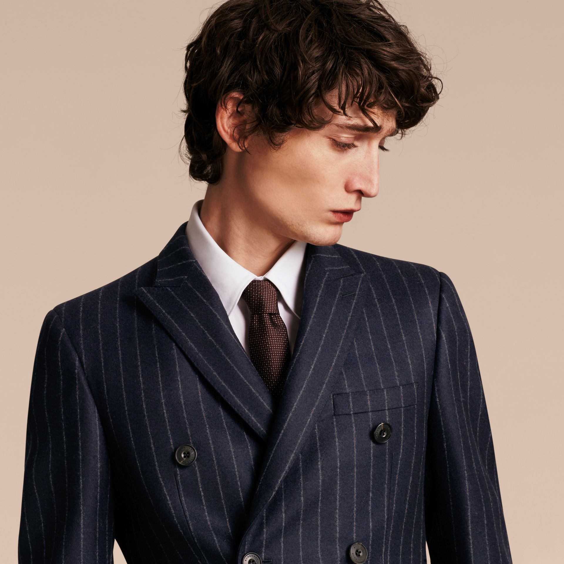 Slim Fit Double-breasted Pinstripe Wool Suit - gallery image 5
