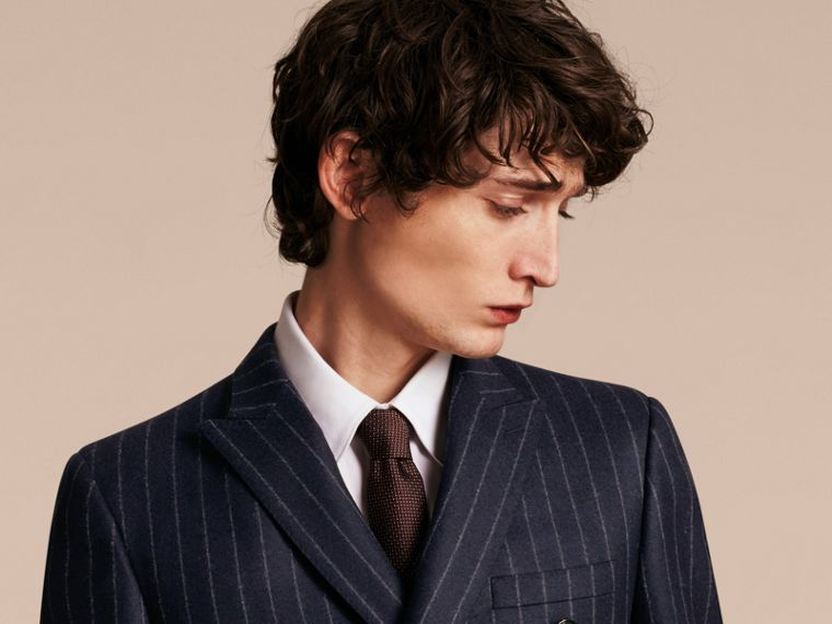 Slim Fit Double-breasted Pinstripe Wool Suit - cell image 4