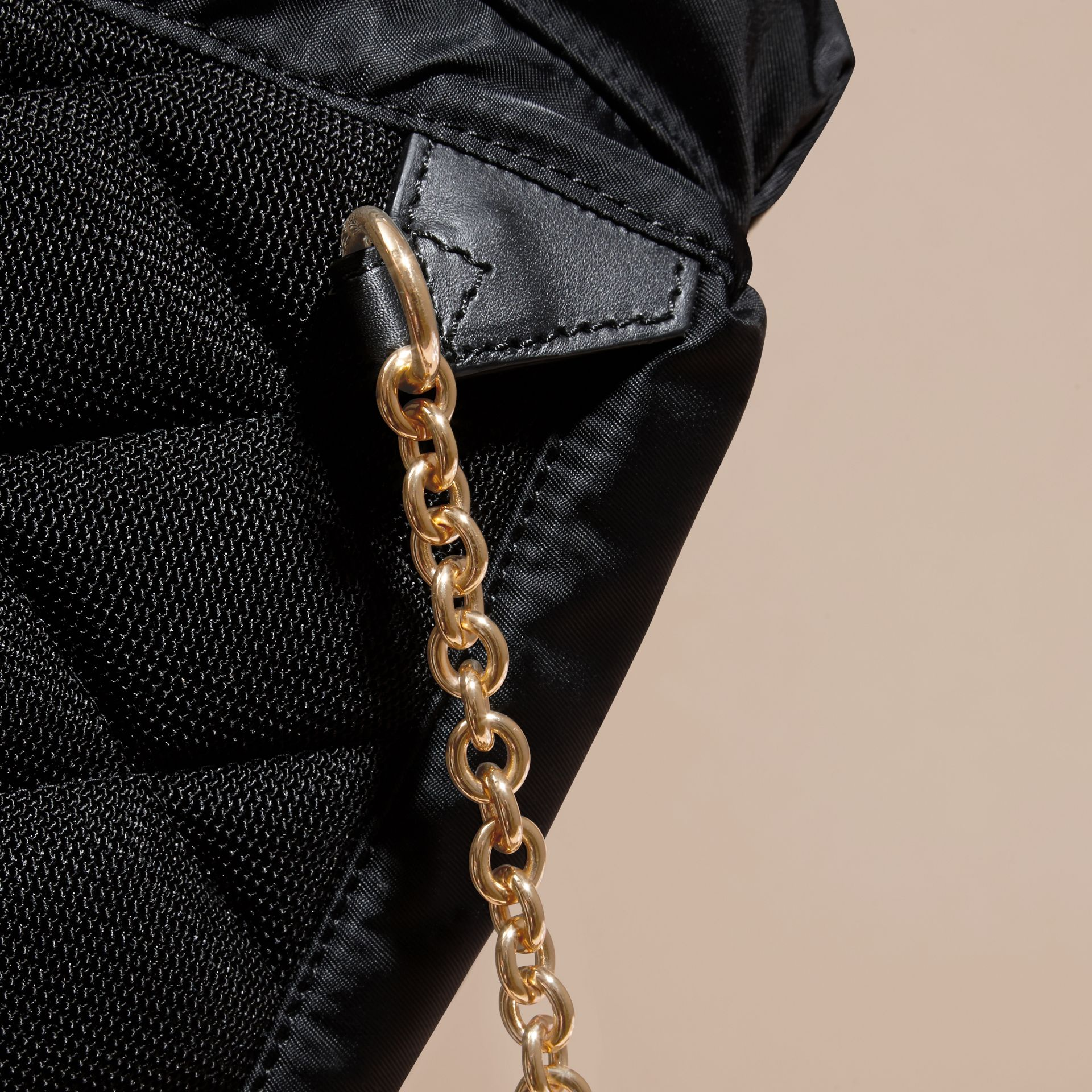 The Small Rucksack in Technical Nylon and Leather in Black - gallery image 6
