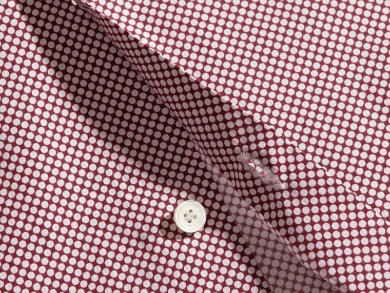 Carmine red Camisa de algodão com mangas curtas e estampa de poás - cell image 1