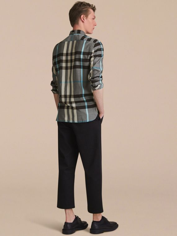 Button-down Collar Check Cotton Poplin Shirt in Mist Grey - Men | Burberry - cell image 2