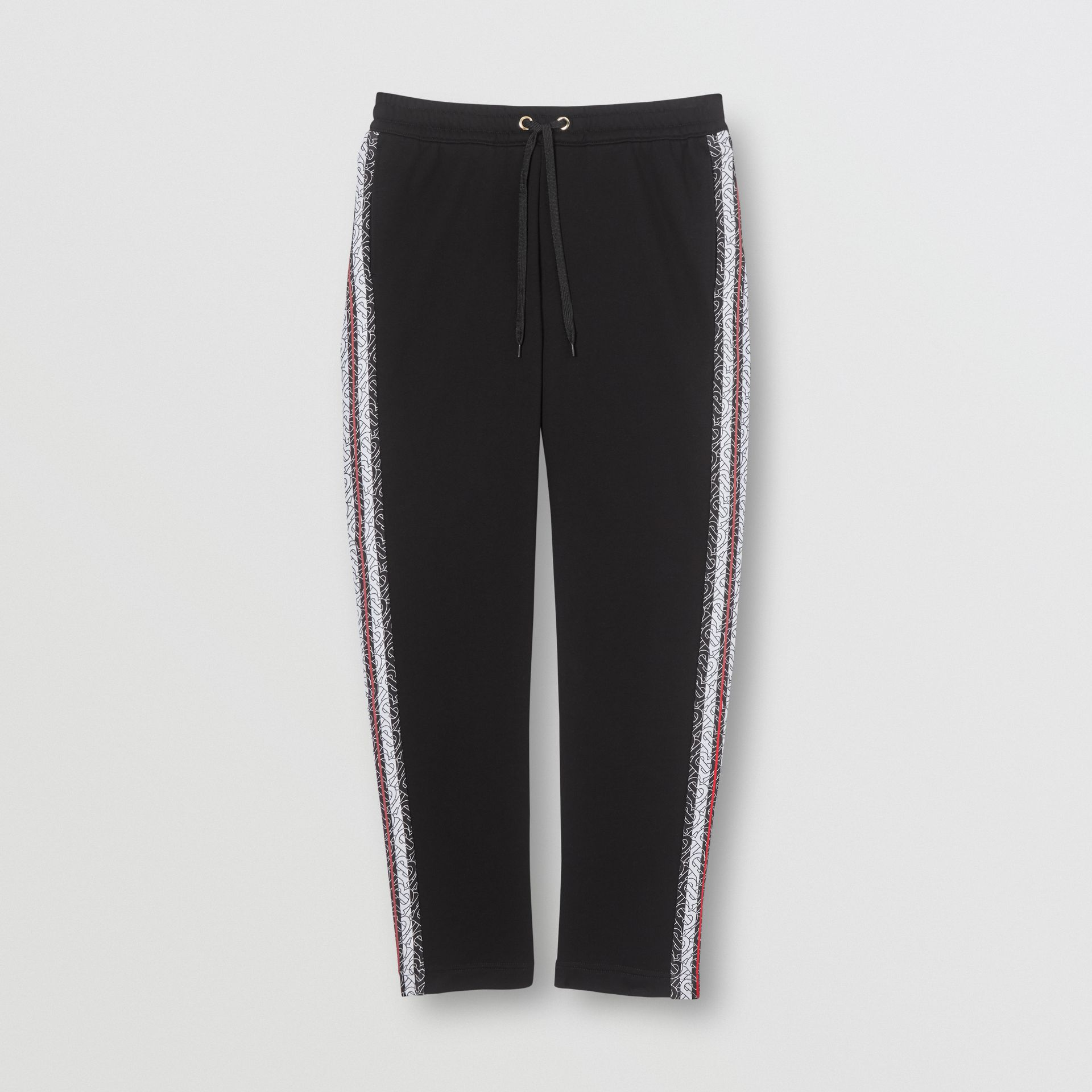 Monogram Stripe Panel Cotton Trackpants in Black - Men | Burberry Hong Kong S.A.R - gallery image 3