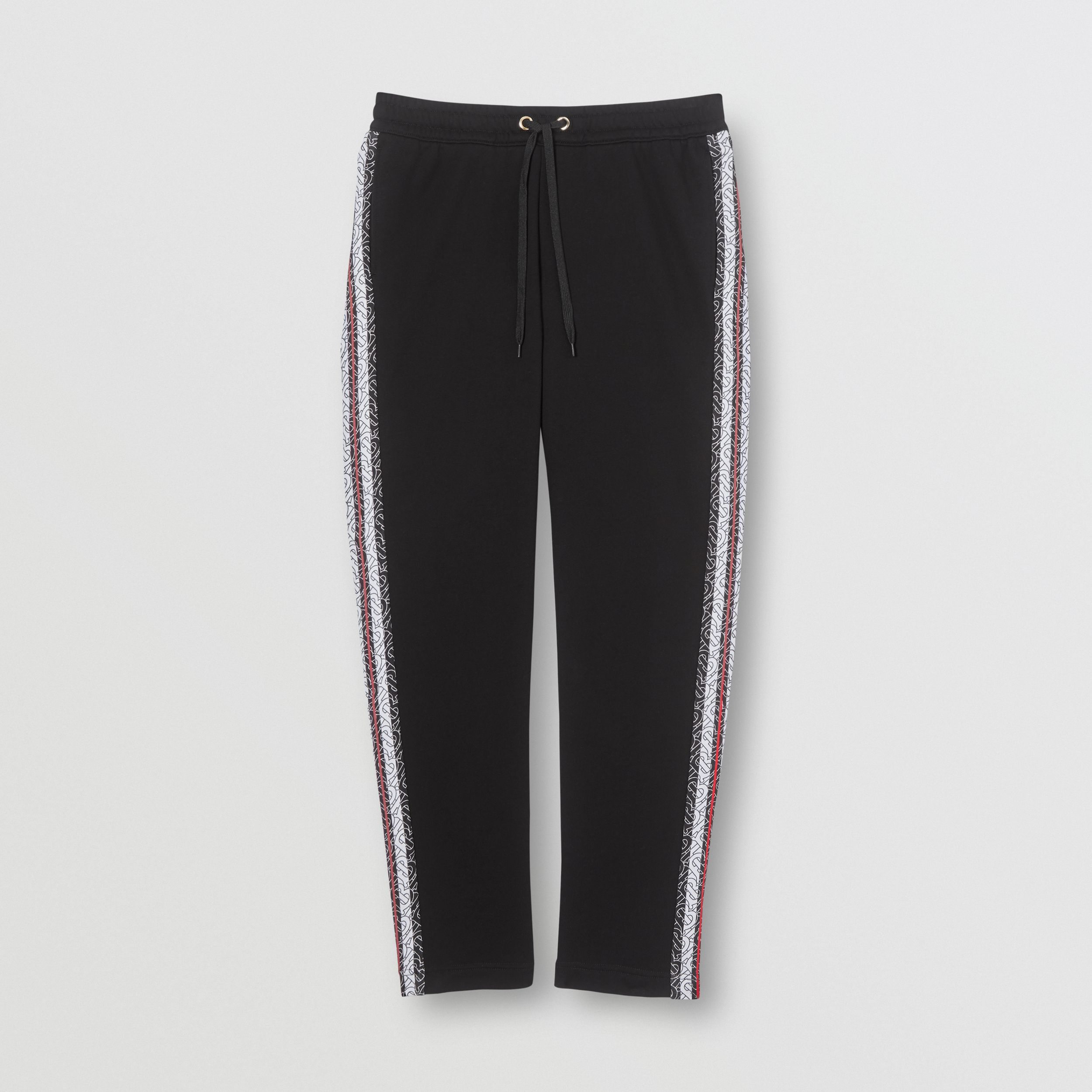 Monogram Stripe Panel Cotton Jogging Pants in Black - Men | Burberry Hong Kong S.A.R. - 4