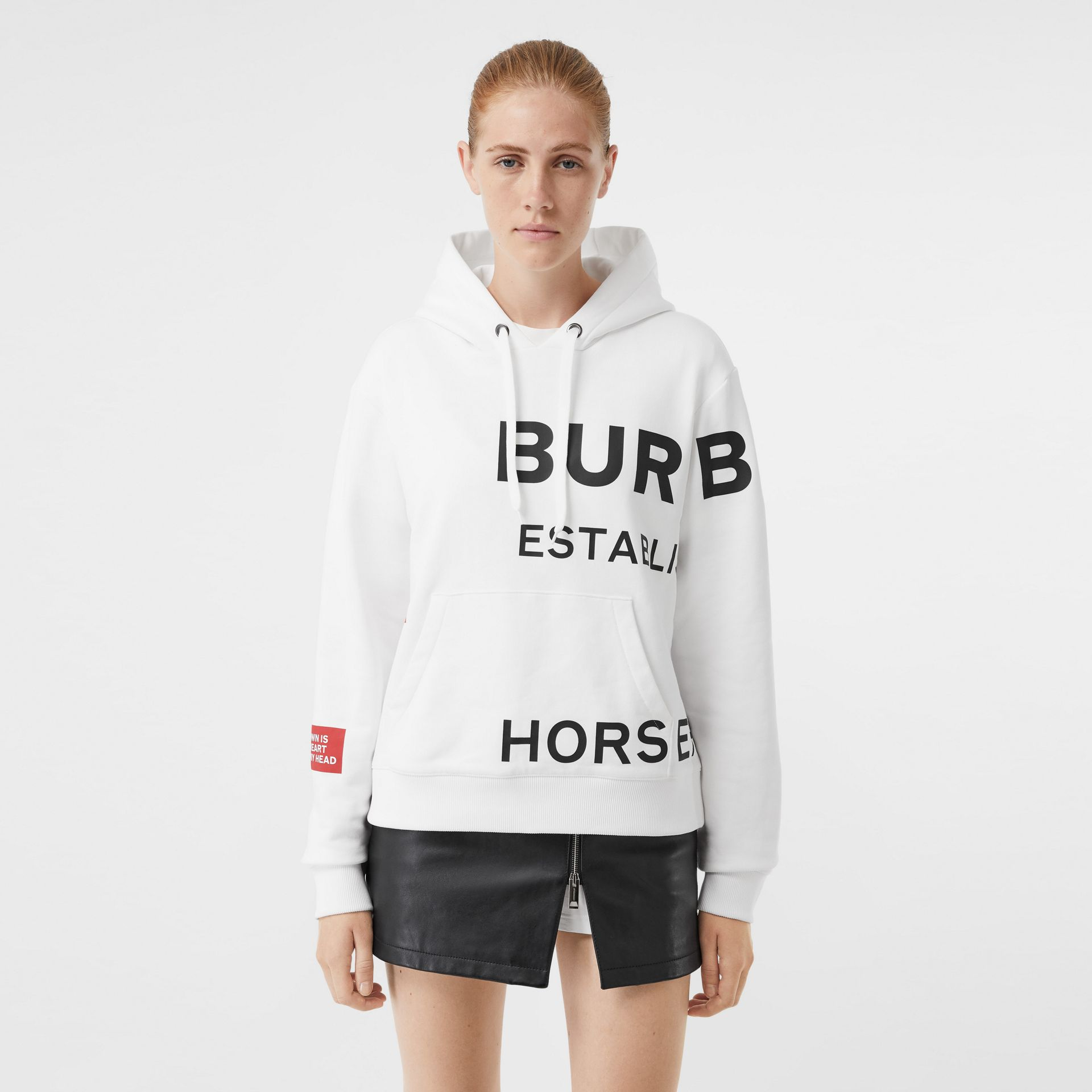 Horseferry Print Cotton Oversized Hoodie in White - Women | Burberry - gallery image 6