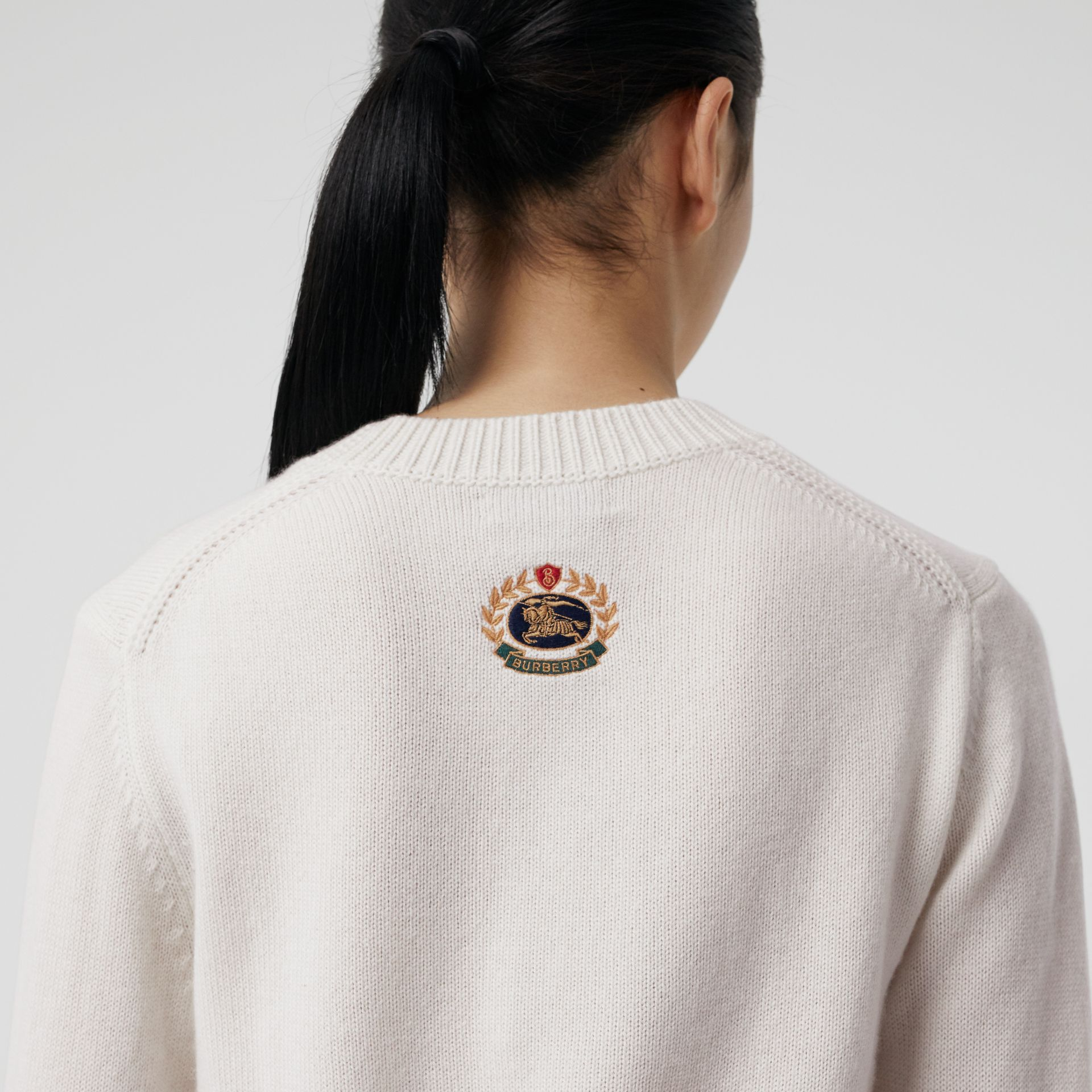 Archive Logo Appliqué Cashmere Sweater in White - Women | Burberry Australia - gallery image 1