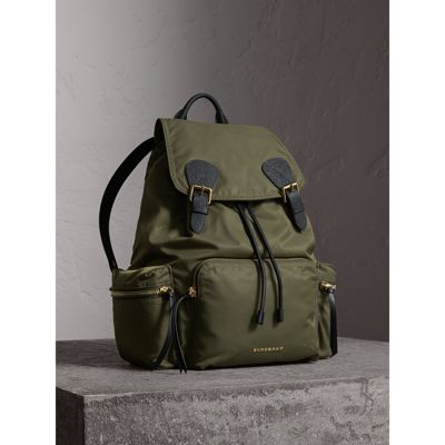 The Large Rucksack In Technical Nylon And Leather, Canvas Green