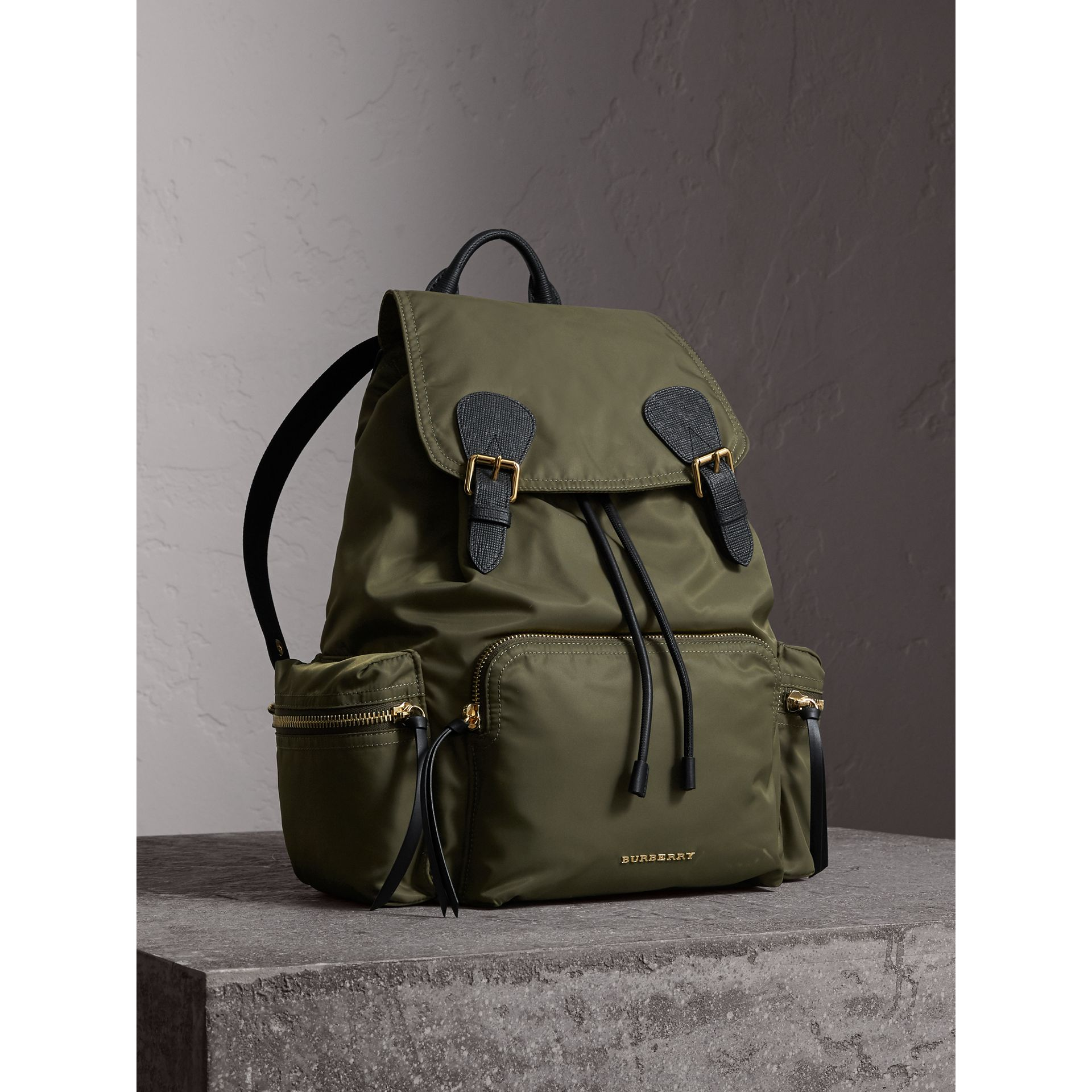 The Large Rucksack in Technical Nylon and Leather in Canvas Green - Women | Burberry Singapore - gallery image 0