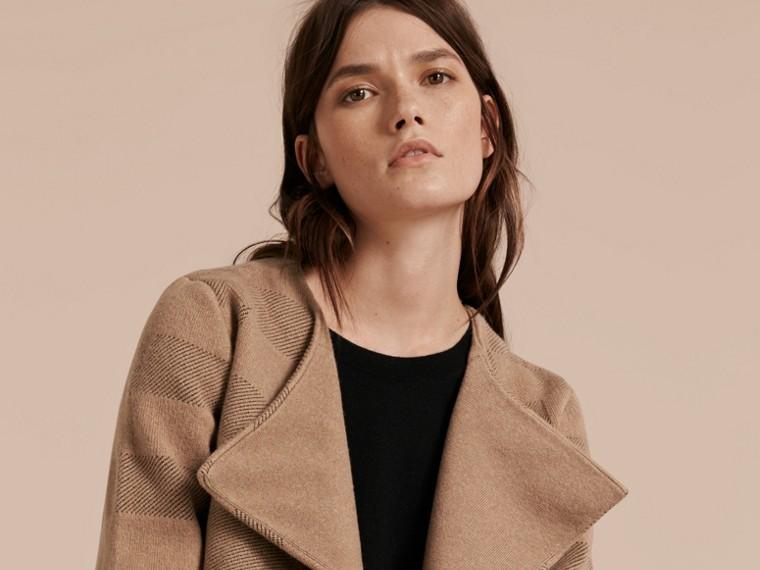 Mel Jaqueta de malha de lã e cashmere com estampa xadrez - cell image 4